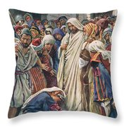 The Woman Who Touched The Hem Of His Garment Throw Pillow