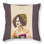 The Woman With Purple Hair Throw Pillow