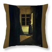 The Woman With The Candlestick Throw Pillow