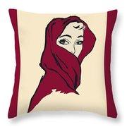 The Woman With The Crimson Veil Throw Pillow