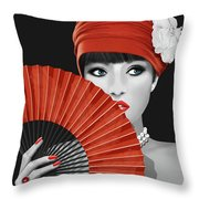 Woman With Paper Fan Throw Pillow