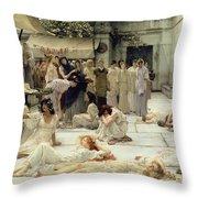 The Women Of Amphissa Throw Pillow by Sir Lawrence Alma-Tadema