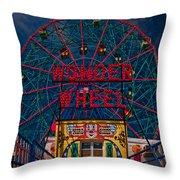 The Wonder Wheel At Luna Park Throw Pillow