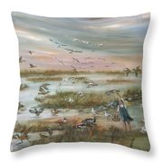 The Wondrous Feathered Things Of The Great Marsh Throw Pillow