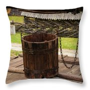 The Wooden Bucket Throw Pillow