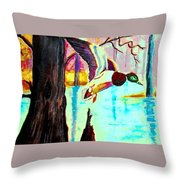 The Woodland Pond Throw Pillow