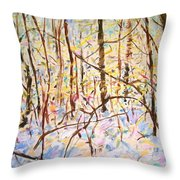 The Woods With Snow Throw Pillow