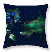 The World In Blues Throw Pillow