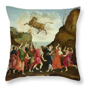 The Worship Of The Egyptian Bull God Apis Throw Pillow