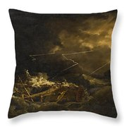 The Wreck Of The H.m.s. Deal Castle Off Puerto Rico During The Great Hurricane Of 1780 Throw Pillow