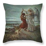 The Wrestle Of Jacob 1855 Throw Pillow