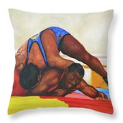The Wrestlers Throw Pillow