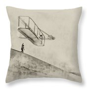 The Wright Brothers At Kittyhawk Throw Pillow