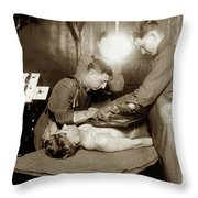 The X-ray Department Base Hospital 34, U. S. A., Nantes, France,  1918 Throw Pillow
