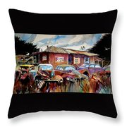 The Yard Ornaments Throw Pillow