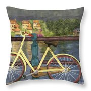 The Yellow Bicycle  Throw Pillow