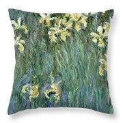 The Yellow Irises Throw Pillow by Claude Monet