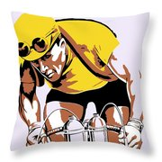 The Yellow Jersey Retro Style Cycling Throw Pillow