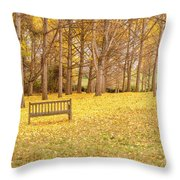 The Yellow Leaves Of Fall Carpet The Ground Of A Ginkgo Biloba Grove. Cm3 Throw Pillow