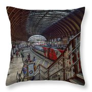 The York Train Station Throw Pillow