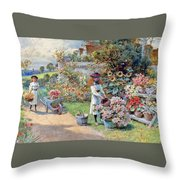 The Young Gardeners Throw Pillow