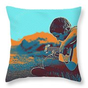 The Young Musician Throw Pillow