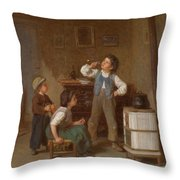 The Young Pipe Smoker Throw Pillow