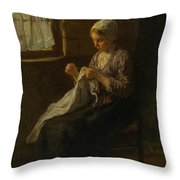 The Young Seamstress Throw Pillow