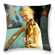 The Young Violinist  Throw Pillow