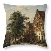 The Zuiderhavendijk, Enkhuizen, 1868 Throw Pillow