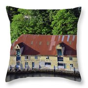 The 1905 Wooden Andreas Odfjell Warehouse On Bergen Harbor Throw Pillow
