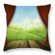 Theater Stage With Red Curtains And Nature Background  Throw Pillow
