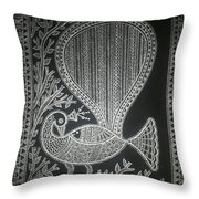 The Madhubani Peacock Throw Pillow