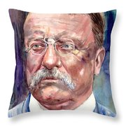 Theodore Roosevelt Watercolor Portrait Throw Pillow