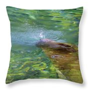 There She Blows Manatee Throw Pillow