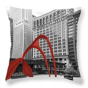 There's A Red Flamingo In Chicago Throw Pillow