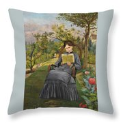 Therese Reading In The Park Of Meric Throw Pillow