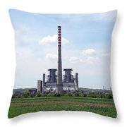 Thermal Power Plant On Green Wheat Field Industry Throw Pillow