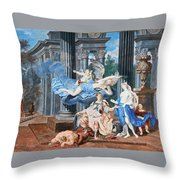 Theseus Crowned With A Laurel Wreath After Slaying The Centaur Bianor Throw Pillow