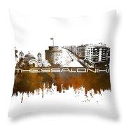 Thessaloniki Skyline City Brown Throw Pillow