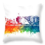 Thessaloniki Skyline City Color Throw Pillow