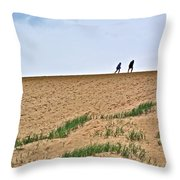 They Are Not At The Top Of This Dune Climb In Sleeping Bear Dunes National Lakeshore-michigan Throw Pillow