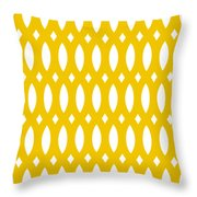 Thick Curved Trellis With Border In Mustard Throw Pillow