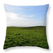 Thick Grass Field Abutting The Cliff's Of Moher In Ireland Throw Pillow