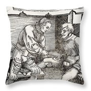 Thigh Cauterization, 16th Century Throw Pillow