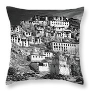 Thiksey Monastery - Paint Bw Throw Pillow