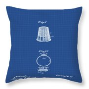 Thimble Patent 1891 In Blue Print Throw Pillow