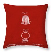Thimble Patent 1891 In Red Throw Pillow