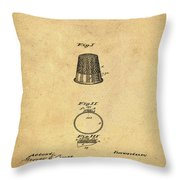 Thimble Patent 1891 In Sepia Throw Pillow