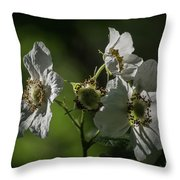 Thimbleberry Blossoms Throw Pillow